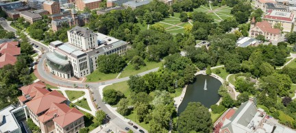Job # 100458 Aerial Thompson Memorial Library, Oval and Mirror Lake JUN-10-2010 Photo by Jo McCulty The Ohio State University