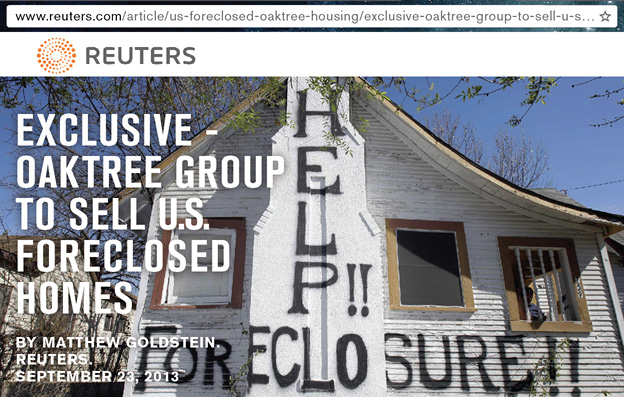 Reuters headline about Oaktree and foreclosures